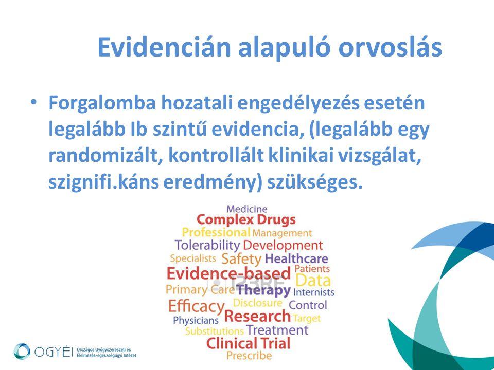 Bizonyítékok szintjei: Forgalomba hozatali engedélyezés (indikáció bővítés) – legalább I.b szintű evidencia (legalább egy randomizált, kontrollált klinikai vizsgálat, szignifikáns eredmény) Off- label engedélyezés – általában III.