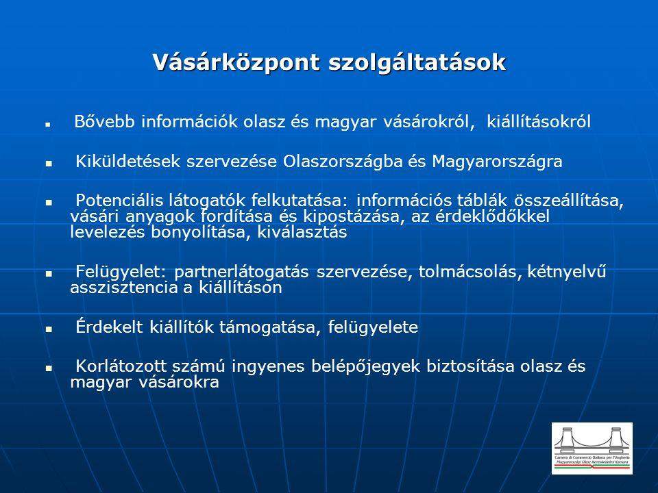 Vásárközpont szolgáltatások Bővebb információk olasz és magyar vásárokról, kiállításokról Kiküldetések szervezése Olaszországba és Magyarországra Potenciális látogatók felkutatása: információs táblák összeállítása, vásári anyagok fordítása és kipostázása, az érdeklődőkkel levelezés bonyolítása, kiválasztás Felügyelet: partnerlátogatás szervezése, tolmácsolás, kétnyelvű asszisztencia a kiállításon Érdekelt kiállítók támogatása, felügyelete Korlátozott számú ingyenes belépőjegyek biztosítása olasz és magyar vásárokra