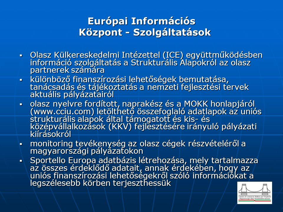 Európai Információs Központ - Szolgáltatások  Olasz Külkereskedelmi Intézettel (ICE) együttműködésben információ szolgáltatás a Strukturális Alapokról az olasz partnerek számára  különböző finanszírozási lehetőségek bemutatása, tanácsadás és tájékoztatás a nemzeti fejlesztési tervek aktuális pályázatairól  olasz nyelvre fordított, naprakész és a MOKK honlapjáról (www.cciu.com) letölthető összefoglaló adatlapok az uniós strukturális alapok által támogatott és kis- és középvállalkozások (KKV) fejlesztésére irányuló pályázati kiírásokról  monitoring tevékenység az olasz cégek részvételéről a magyarországi pályázatokon  Sportello Europa adatbázis létrehozása, mely tartalmazza az összes érdeklődő adatait, annak érdekében, hogy az uniós finanszírozási lehetőségekről szóló információkat a legszélesebb körben terjeszthessük
