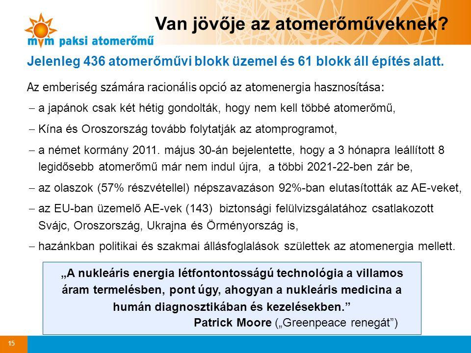 15 Jelenleg 436 atomerőművi blokk üzemel és 61 blokk áll építés alatt.