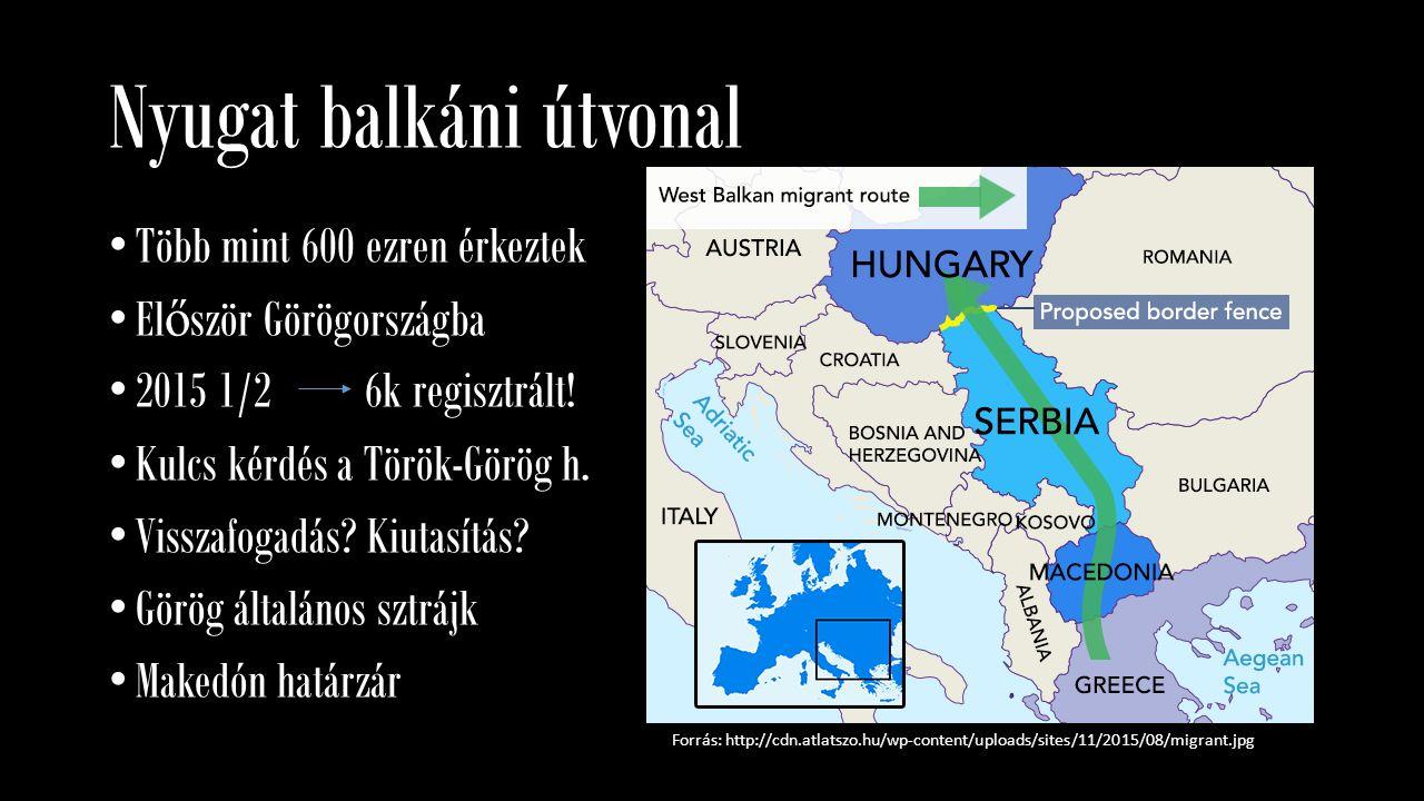 Nyugat balkáni útvonal Forrás: http://cdn.atlatszo.hu/wp-content/uploads/sites/11/2015/08/migrant.jpg Több mint 600 ezren érkeztek El ő ször Görögorsz