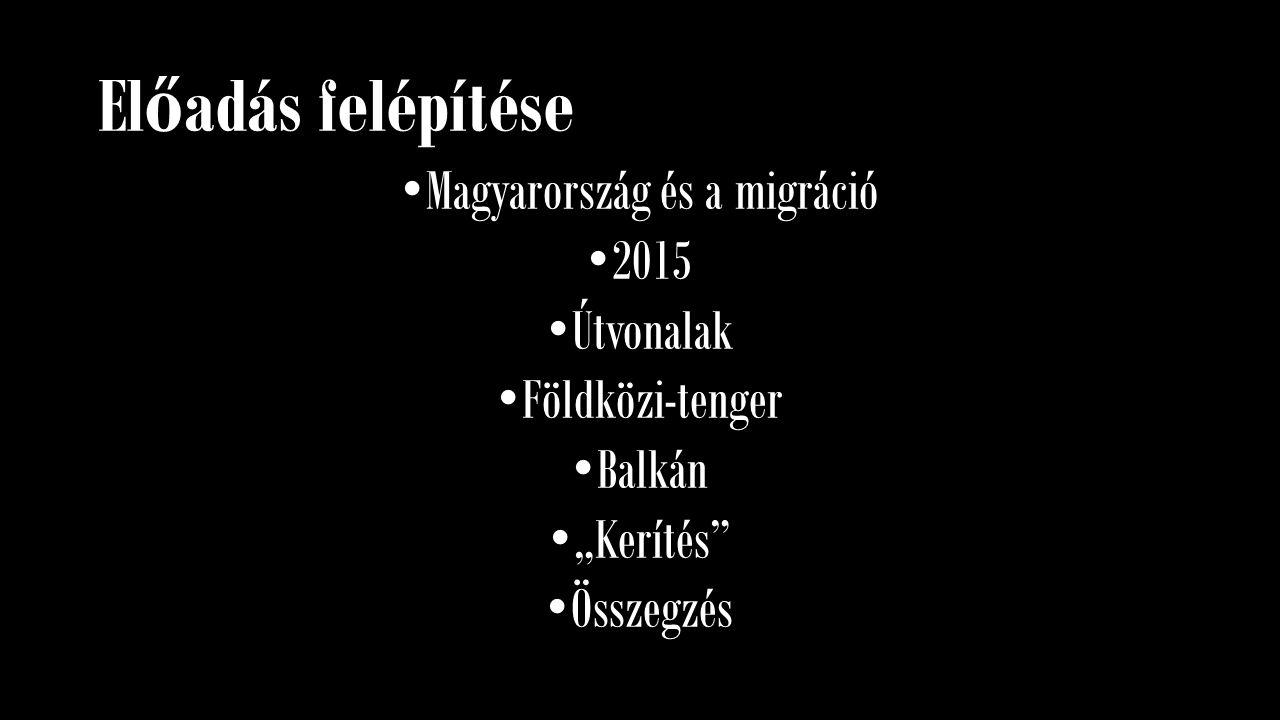 """El ő adás felépítése Magyarország és a migráció 2015 Útvonalak Földközi-tenger Balkán """"Kerítés"""" Összegzés"""