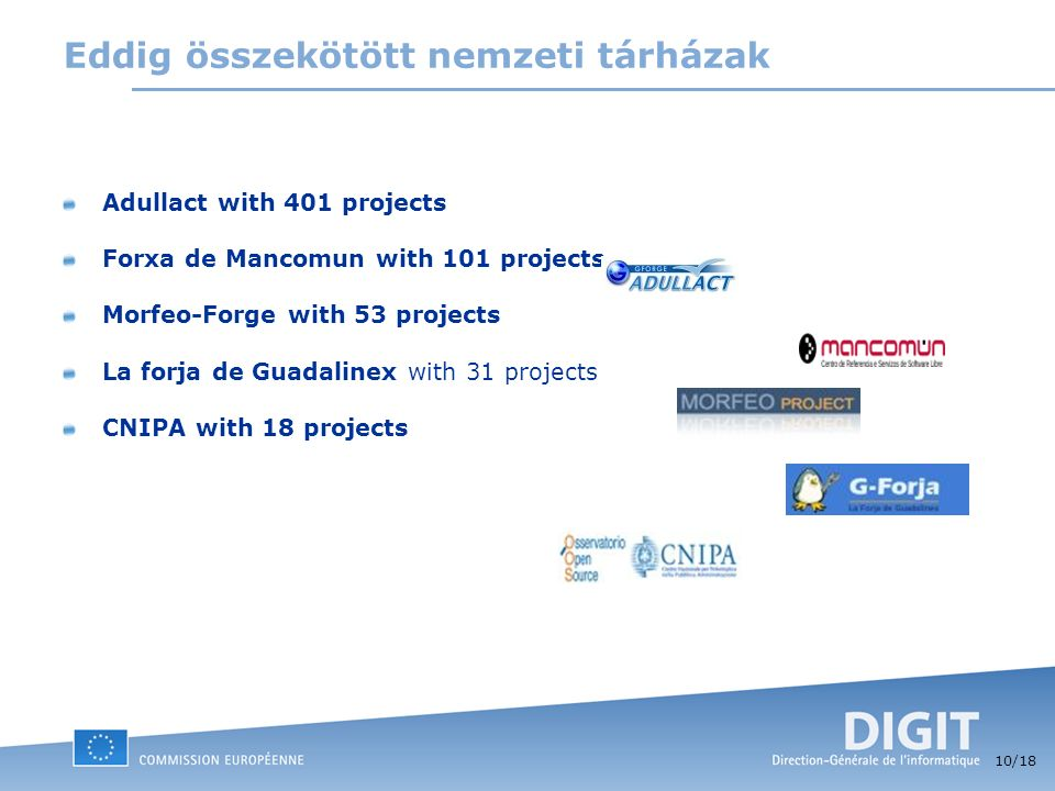 10 /18 Eddig összekötött nemzeti tárházak Adullact with 401 projects Forxa de Mancomun with 101 projects Morfeo-Forge with 53 projects La forja de Guadalinex with 31 projects CNIPA with 18 projects
