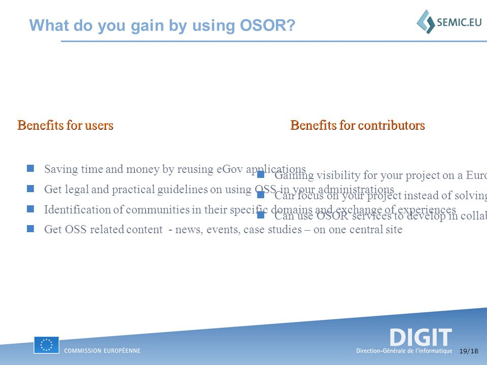 19 /18 What do you gain by using OSOR.