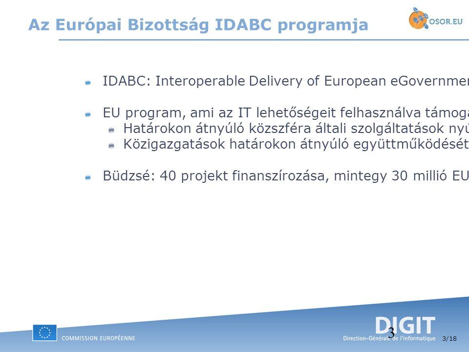 3 /18 3 Az Európai Bizottság IDABC programja IDABC: Interoperable Delivery of European eGovernment Services to Public Administrations, Businesses and Citizens EU program, ami az IT lehetőségeit felhasználva támogatja: Határokon átnyúló közszféra általi szolgáltatások nyújtását az EU állampolgárai és vállalatai számára.