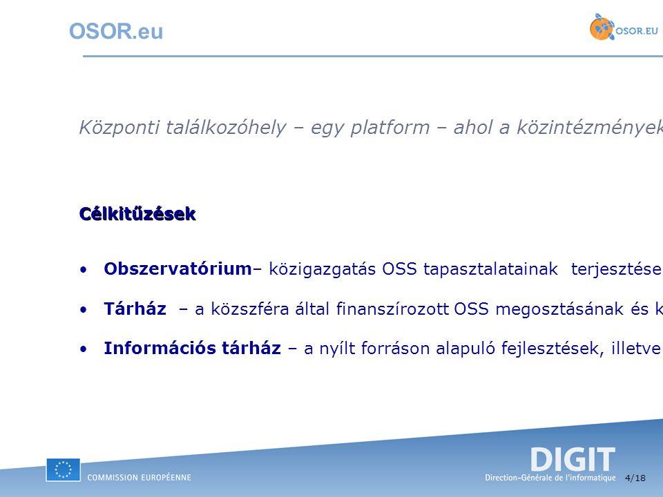 4 /18 OSOR.eu Központi találkozóhely – egy platform – ahol a közintézmények szabadon megoszthatják egymással nyílt forráskódon alapuló IT megoldásaikat és ezzel kapcsolatos tapasztalataikat, jobb eGov szolgáltatások nyújtásának érdekében.