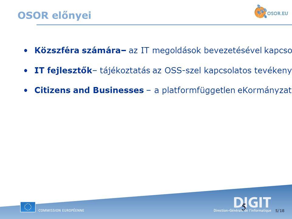 5 /18 5 OSOR előnyei Közszféra számára– az IT megoldások bevezetésével kapcsolatos költségek csökkentése a kód újra-felhasználása útján. Hasonló proje