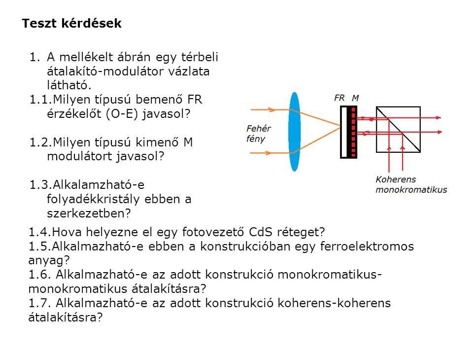 Teszt kérdések 1.A mellékelt ábrán egy térbeli átalakító-modulátor vázlata látható.