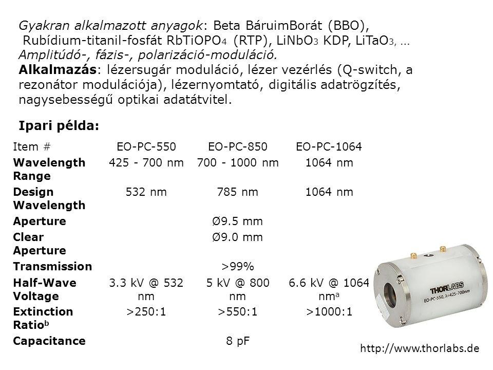 Gyakran alkalmazott anyagok: Beta BáruimBorát (BBO), Rubídium-titanil-fosfát RbTiOPO 4 (RTP), LiNbO 3 KDP, LiTaO 3, … Amplitúdó-, fázis-, polarizáció-moduláció.