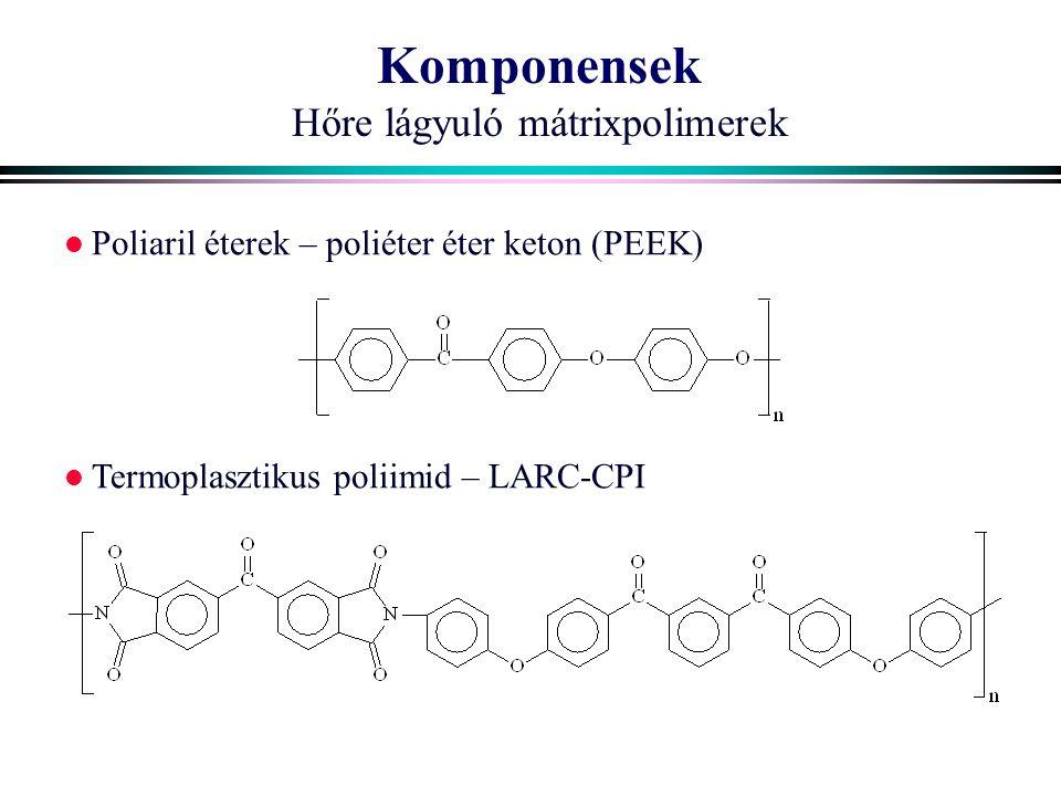 Komponensek Hőre lágyuló mátrixpolimerek Poliaril éterek – poliéter éter keton (PEEK) Termoplasztikus poliimid – LARC-CPI