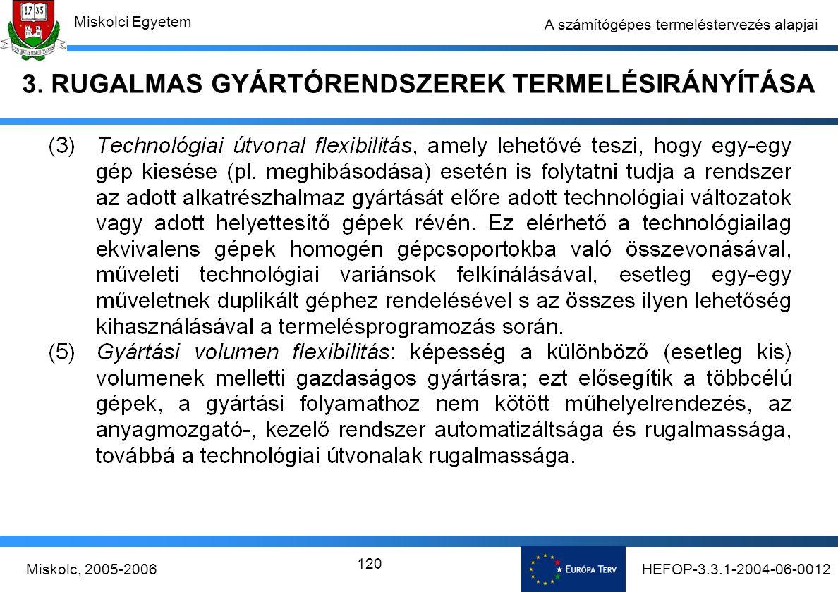 HEFOP-3.3.1-2004-06-0012Miskolc, 2005-2006 Miskolci Egyetem 120 A számítógépes termeléstervezés alapjai 3.
