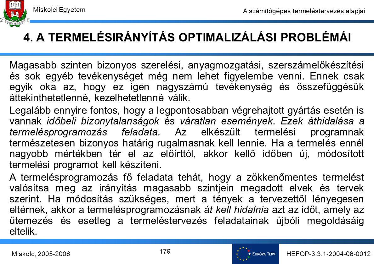 HEFOP-3.3.1-2004-06-0012Miskolc, 2005-2006 Miskolci Egyetem 179 A számítógépes termeléstervezés alapjai 4.