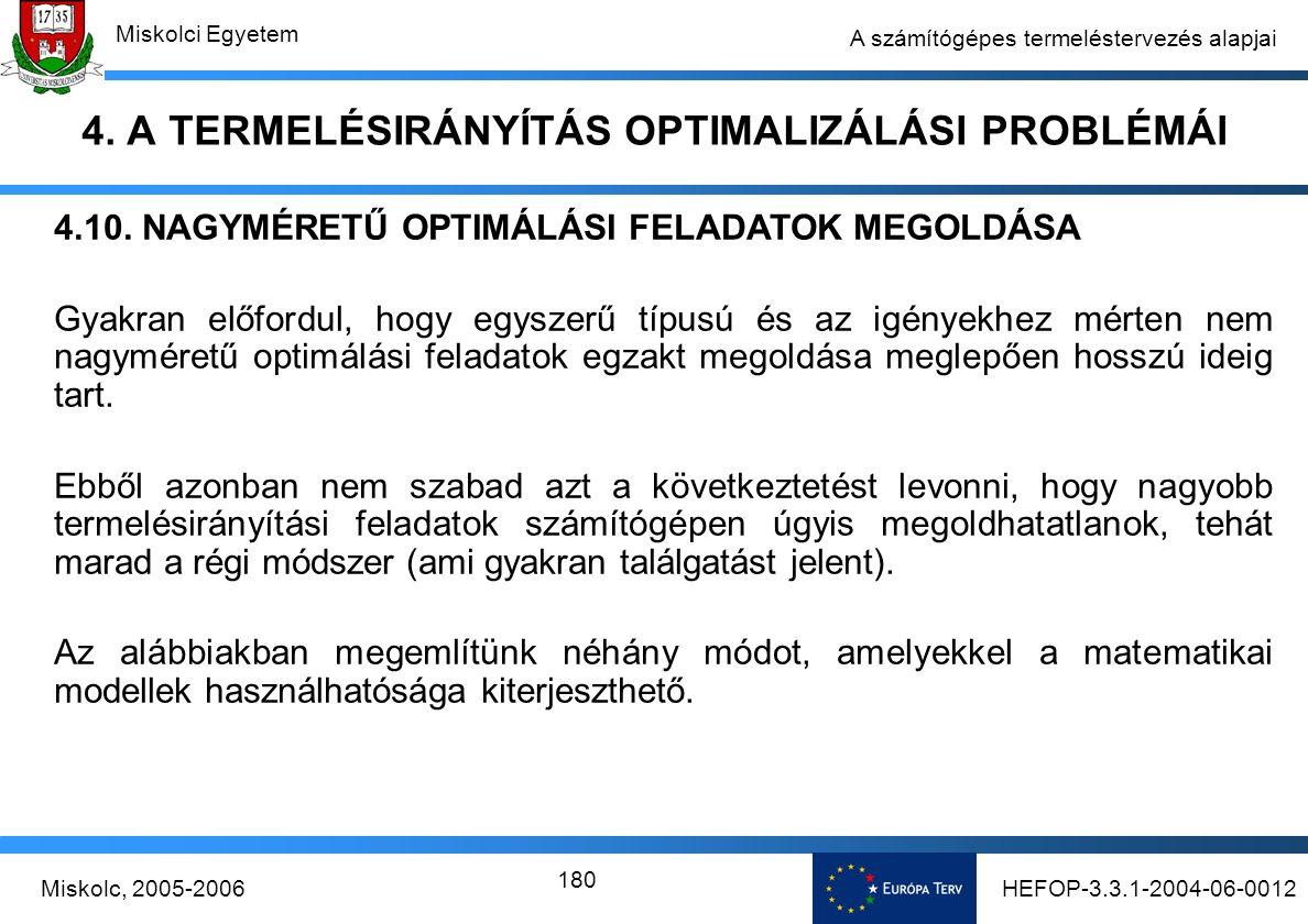 HEFOP-3.3.1-2004-06-0012Miskolc, 2005-2006 Miskolci Egyetem 180 A számítógépes termeléstervezés alapjai 4.