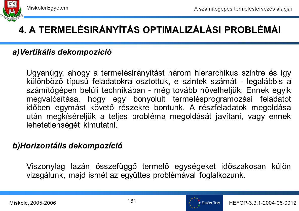 HEFOP-3.3.1-2004-06-0012Miskolc, 2005-2006 Miskolci Egyetem 181 A számítógépes termeléstervezés alapjai 4.