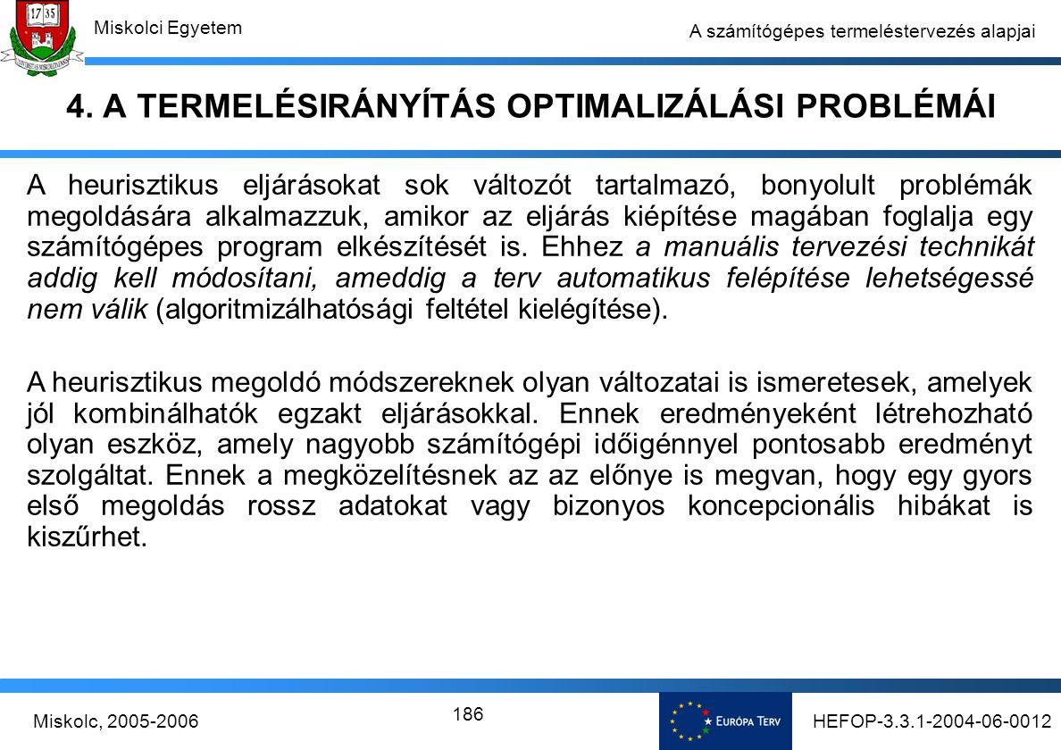 HEFOP-3.3.1-2004-06-0012Miskolc, 2005-2006 Miskolci Egyetem 186 A számítógépes termeléstervezés alapjai 4.