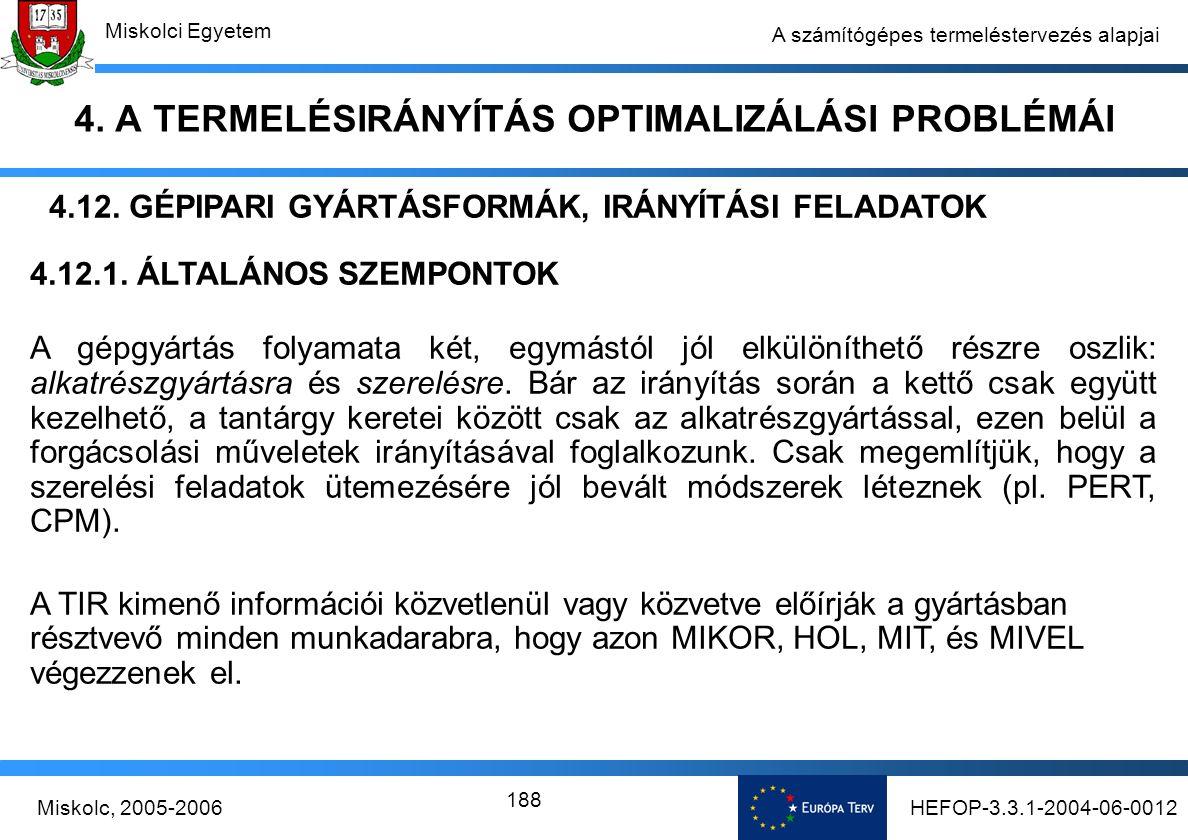 HEFOP-3.3.1-2004-06-0012Miskolc, 2005-2006 Miskolci Egyetem 188 A számítógépes termeléstervezés alapjai 4.