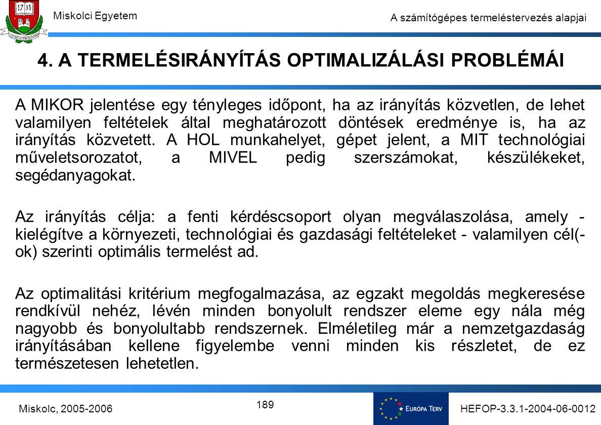 HEFOP-3.3.1-2004-06-0012Miskolc, 2005-2006 Miskolci Egyetem 189 A számítógépes termeléstervezés alapjai 4.
