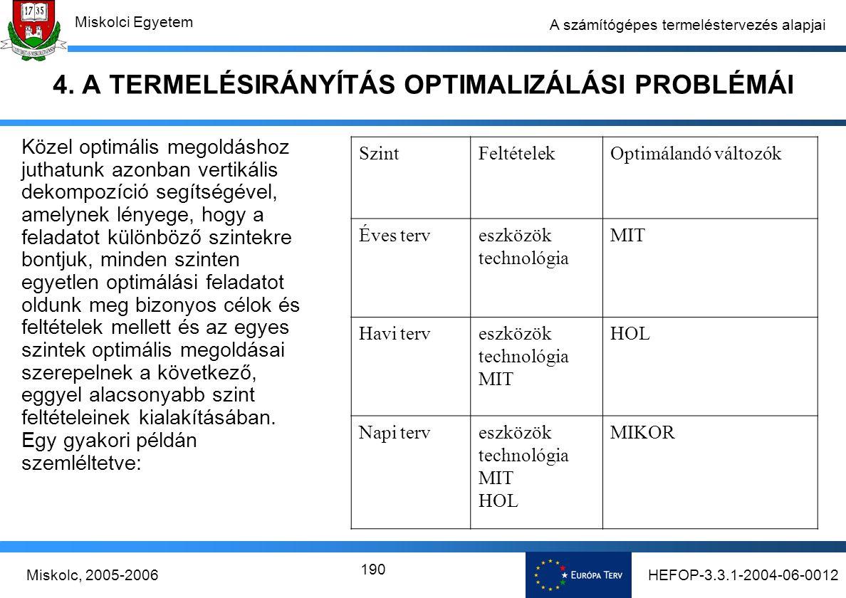 HEFOP-3.3.1-2004-06-0012Miskolc, 2005-2006 Miskolci Egyetem 190 A számítógépes termeléstervezés alapjai 4.