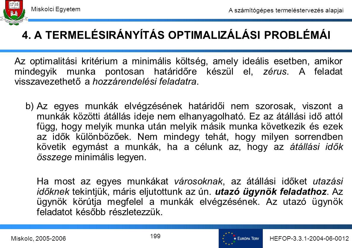 HEFOP-3.3.1-2004-06-0012Miskolc, 2005-2006 Miskolci Egyetem 199 A számítógépes termeléstervezés alapjai 4.