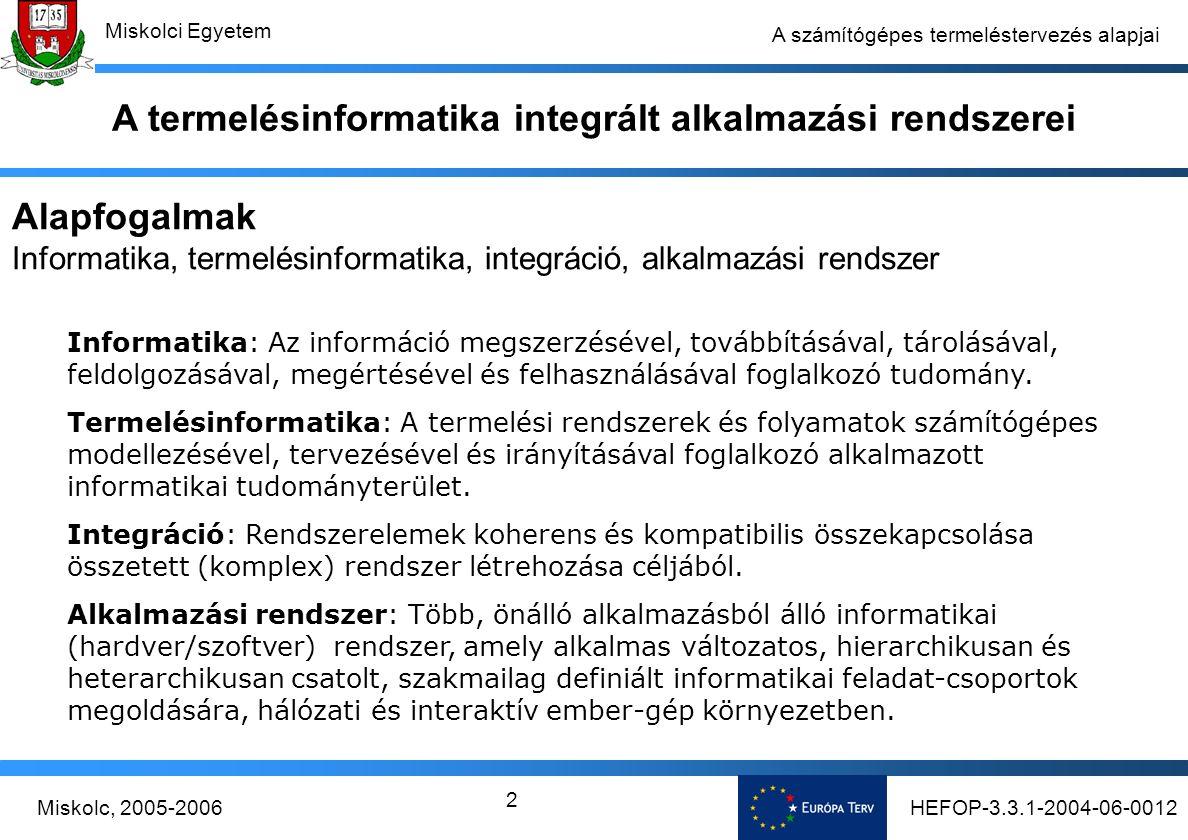 HEFOP-3.3.1-2004-06-0012Miskolc, 2005-2006 Miskolci Egyetem 2 A számítógépes termeléstervezés alapjai A termelésinformatika integrált alkalmazási rendszerei Alapfogalmak Informatika, termelésinformatika, integráció, alkalmazási rendszer Informatika: Az információ megszerzésével, továbbításával, tárolásával, feldolgozásával, megértésével és felhasználásával foglalkozó tudomány.