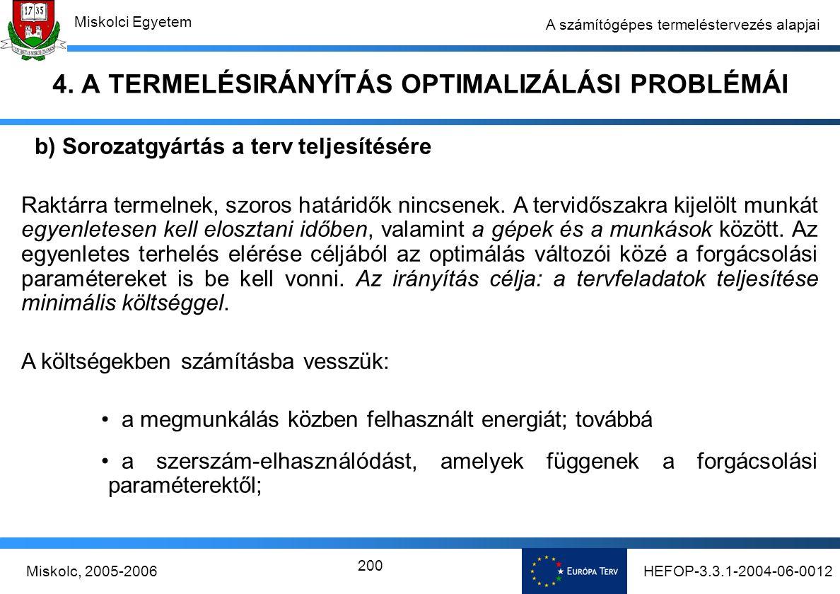 HEFOP-3.3.1-2004-06-0012Miskolc, 2005-2006 Miskolci Egyetem 200 A számítógépes termeléstervezés alapjai 4.