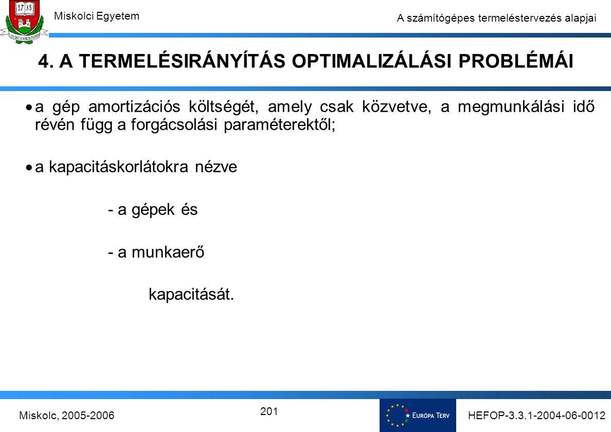 HEFOP-3.3.1-2004-06-0012Miskolc, 2005-2006 Miskolci Egyetem 201 A számítógépes termeléstervezés alapjai 4.