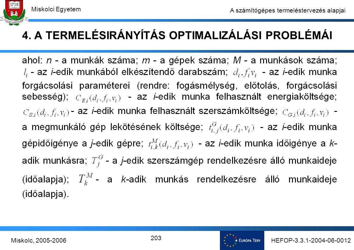 HEFOP-3.3.1-2004-06-0012Miskolc, 2005-2006 Miskolci Egyetem 203 A számítógépes termeléstervezés alapjai 4.