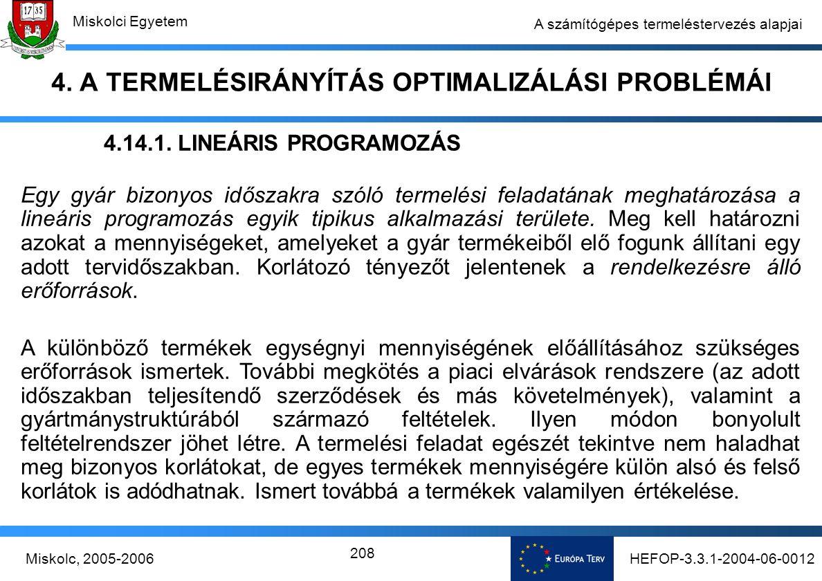 HEFOP-3.3.1-2004-06-0012Miskolc, 2005-2006 Miskolci Egyetem 208 A számítógépes termeléstervezés alapjai 4.