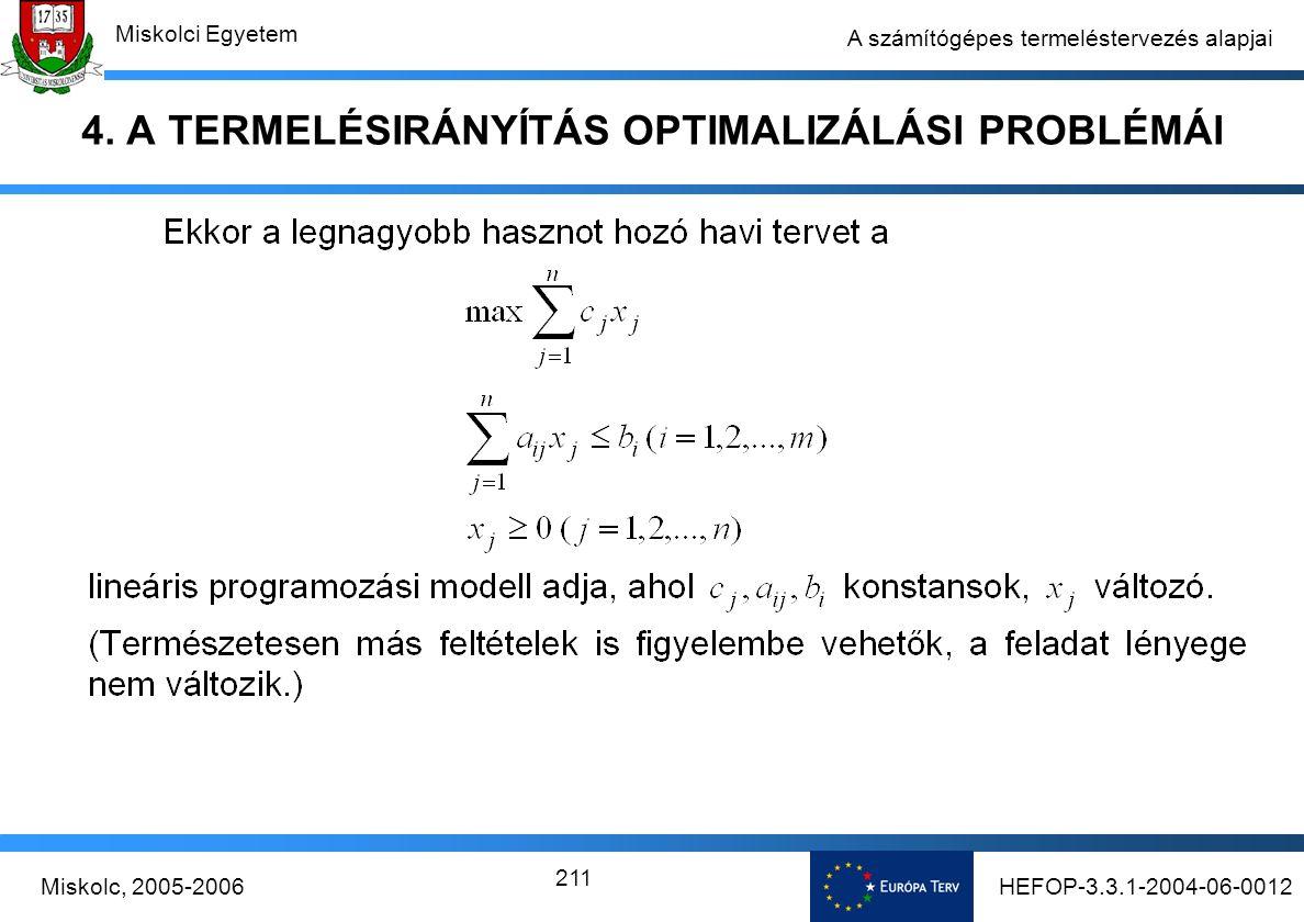 HEFOP-3.3.1-2004-06-0012Miskolc, 2005-2006 Miskolci Egyetem 211 A számítógépes termeléstervezés alapjai 4.