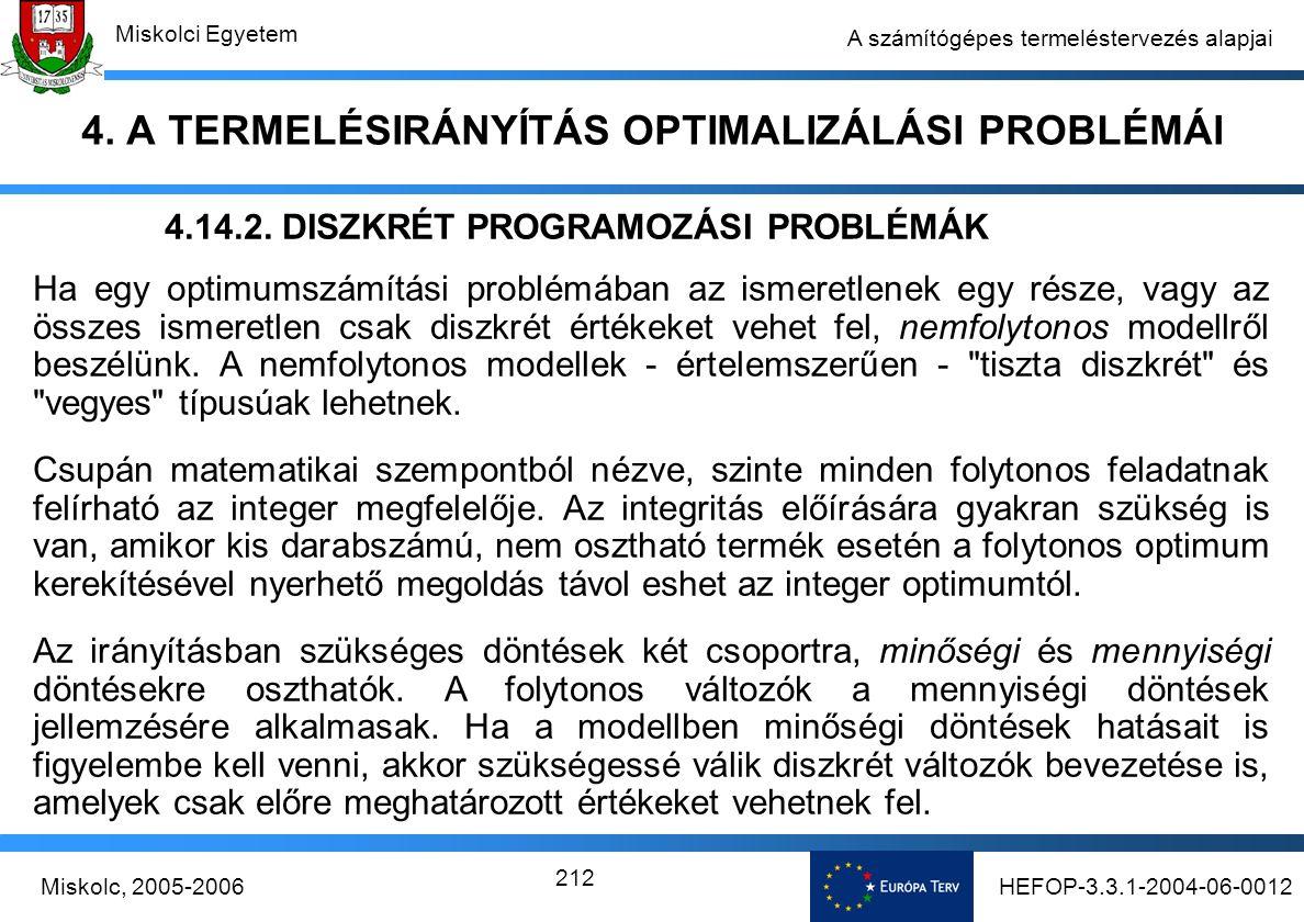 HEFOP-3.3.1-2004-06-0012Miskolc, 2005-2006 Miskolci Egyetem 212 A számítógépes termeléstervezés alapjai 4.