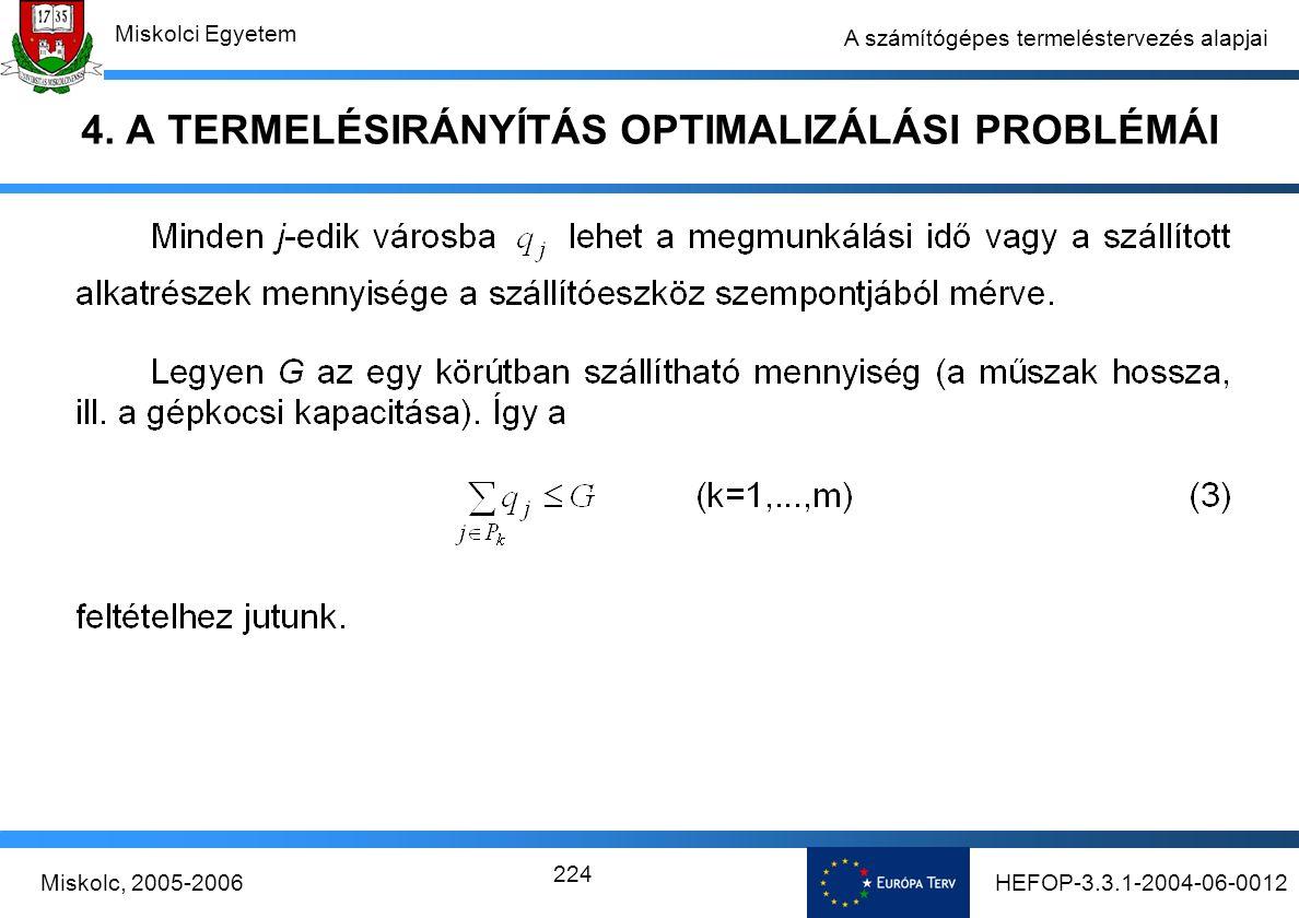 HEFOP-3.3.1-2004-06-0012Miskolc, 2005-2006 Miskolci Egyetem 224 A számítógépes termeléstervezés alapjai 4.