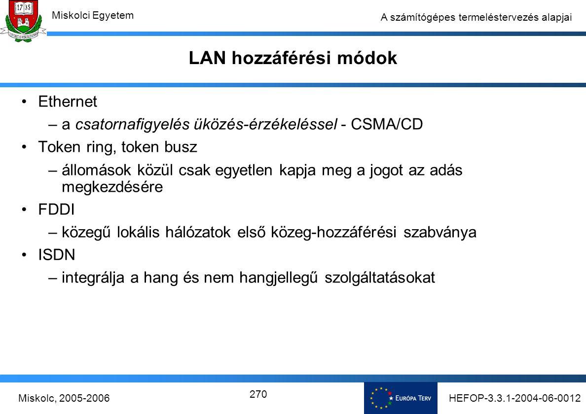 HEFOP-3.3.1-2004-06-0012Miskolc, 2005-2006 Miskolci Egyetem 270 A számítógépes termeléstervezés alapjai LAN hozzáférési módok Ethernet –a csatornafigyelés üközés-érzékeléssel - CSMA/CD Token ring, token busz –állomások közül csak egyetlen kapja meg a jogot az adás megkezdésére FDDI –közegű lokális hálózatok első közeg-hozzáférési szabványa ISDN –integrálja a hang és nem hangjellegű szolgáltatásokat