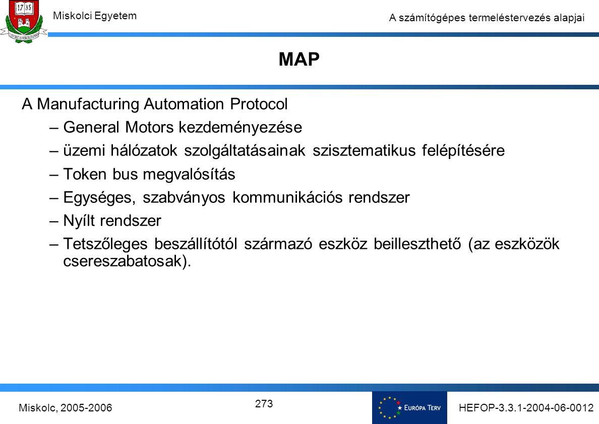 HEFOP-3.3.1-2004-06-0012Miskolc, 2005-2006 Miskolci Egyetem 273 A számítógépes termeléstervezés alapjai MAP A Manufacturing Automation Protocol –General Motors kezdeményezése –üzemi hálózatok szolgáltatásainak szisztematikus felépítésére –Token bus megvalósítás –Egységes, szabványos kommunikációs rendszer –Nyílt rendszer –Tetszőleges beszállítótól származó eszköz beilleszthető (az eszközök csereszabatosak).