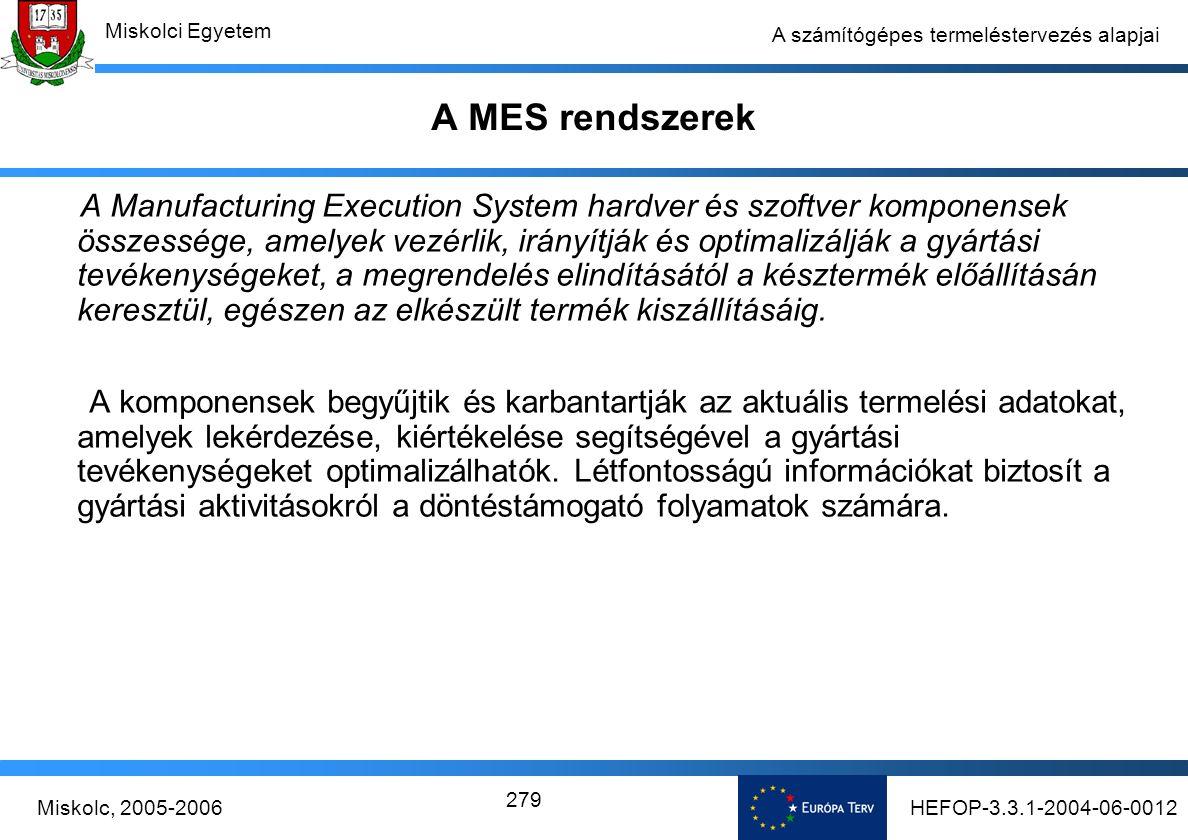 HEFOP-3.3.1-2004-06-0012Miskolc, 2005-2006 Miskolci Egyetem 279 A számítógépes termeléstervezés alapjai A MES rendszerek A Manufacturing Execution System hardver és szoftver komponensek összessége, amelyek vezérlik, irányítják és optimalizálják a gyártási tevékenységeket, a megrendelés elindításától a késztermék előállításán keresztül, egészen az elkészült termék kiszállításáig.