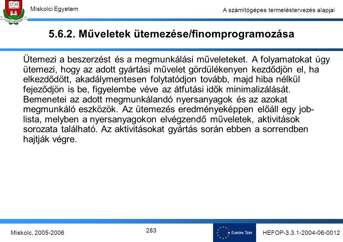 HEFOP-3.3.1-2004-06-0012Miskolc, 2005-2006 Miskolci Egyetem 283 A számítógépes termeléstervezés alapjai 5.6.2.