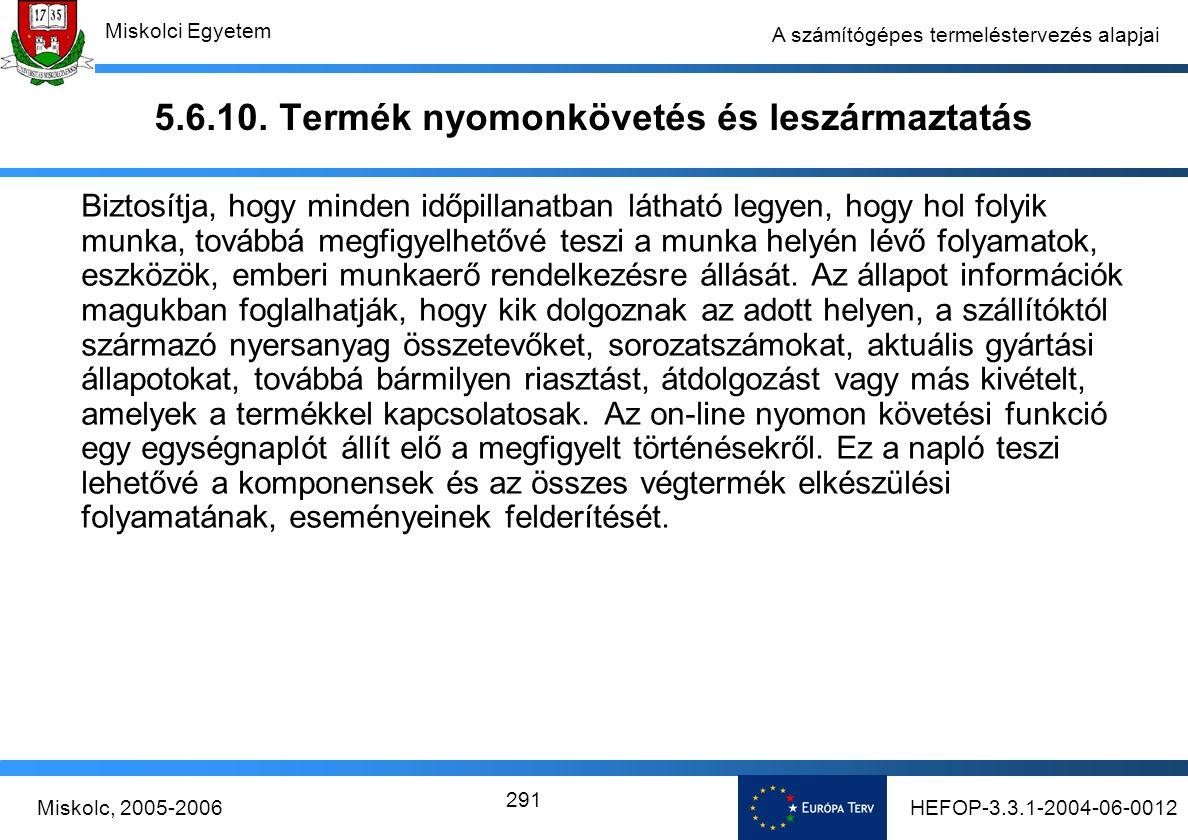 HEFOP-3.3.1-2004-06-0012Miskolc, 2005-2006 Miskolci Egyetem 291 A számítógépes termeléstervezés alapjai 5.6.10.