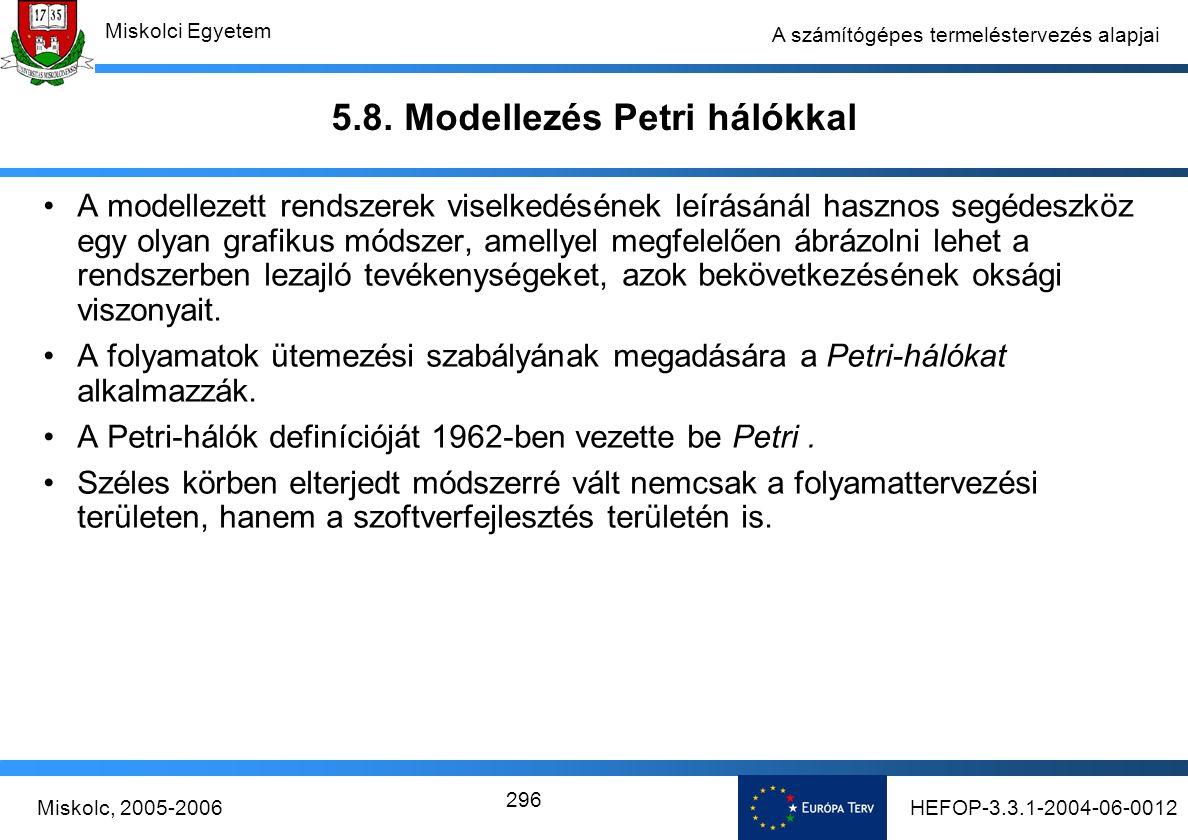 HEFOP-3.3.1-2004-06-0012Miskolc, 2005-2006 Miskolci Egyetem 296 A számítógépes termeléstervezés alapjai 5.8.