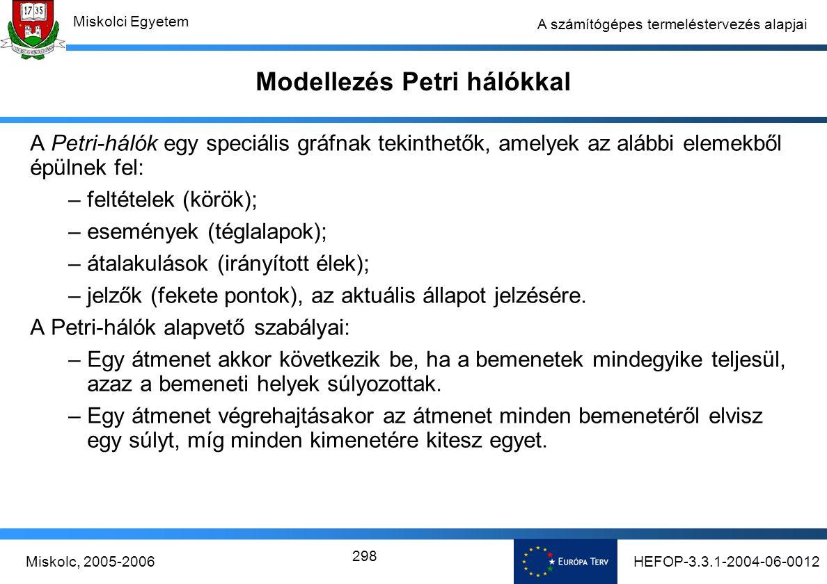 HEFOP-3.3.1-2004-06-0012Miskolc, 2005-2006 Miskolci Egyetem 298 A számítógépes termeléstervezés alapjai Modellezés Petri hálókkal A Petri-hálók egy speciális gráfnak tekinthetők, amelyek az alábbi elemekből épülnek fel: –feltételek (körök); –események (téglalapok); –átalakulások (irányított élek); –jelzők (fekete pontok), az aktuális állapot jelzésére.