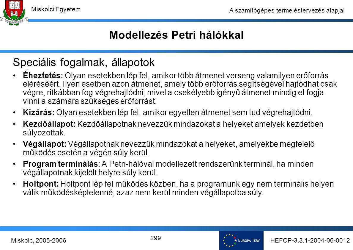 HEFOP-3.3.1-2004-06-0012Miskolc, 2005-2006 Miskolci Egyetem 299 A számítógépes termeléstervezés alapjai Modellezés Petri hálókkal Speciális fogalmak, állapotok Éheztetés: Olyan esetekben lép fel, amikor több átmenet verseng valamilyen erőforrás eléréséért.