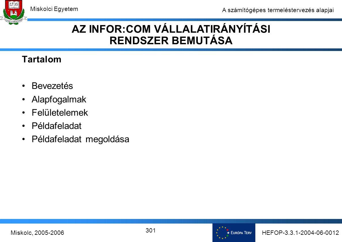 HEFOP-3.3.1-2004-06-0012Miskolc, 2005-2006 Miskolci Egyetem 301 A számítógépes termeléstervezés alapjai Tartalom Bevezetés Alapfogalmak Felületelemek Példafeladat Példafeladat megoldása AZ INFOR:COM VÁLLALATIRÁNYÍTÁSI RENDSZER BEMUTÁSA