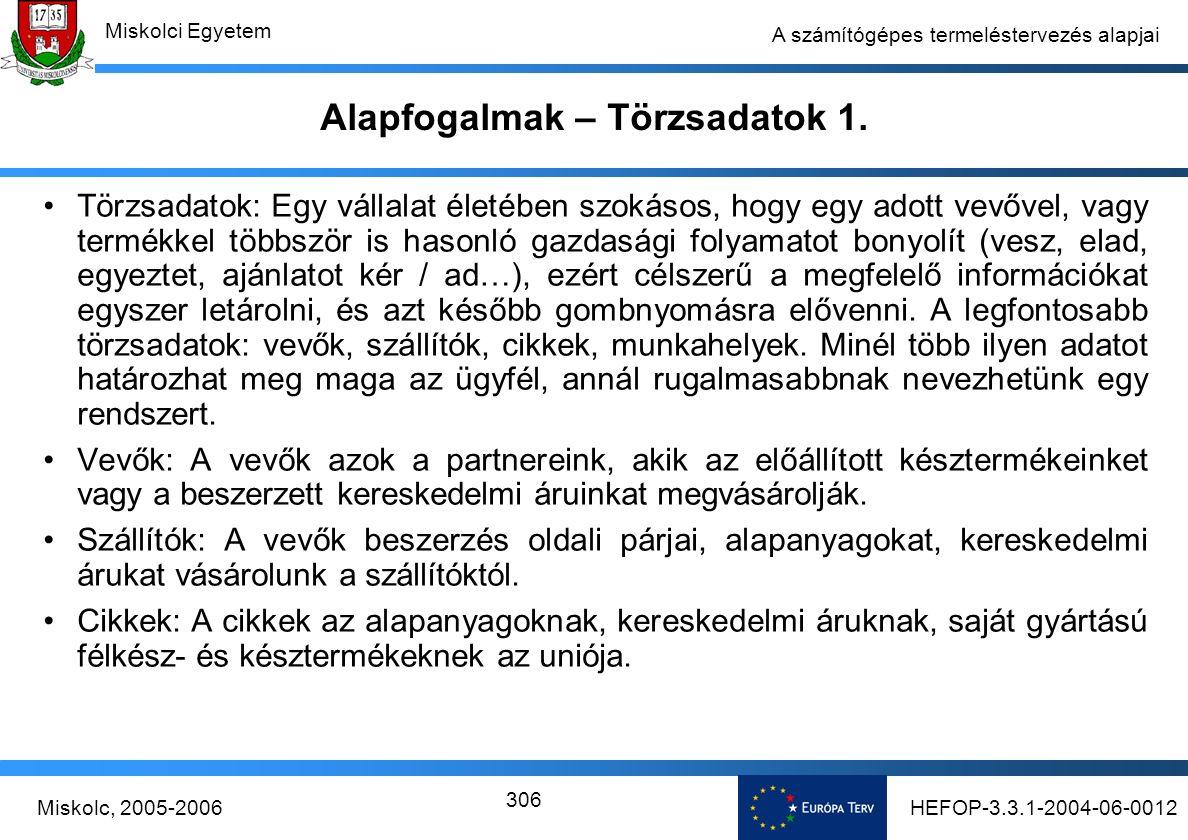 HEFOP-3.3.1-2004-06-0012Miskolc, 2005-2006 Miskolci Egyetem 306 A számítógépes termeléstervezés alapjai Alapfogalmak – Törzsadatok 1.