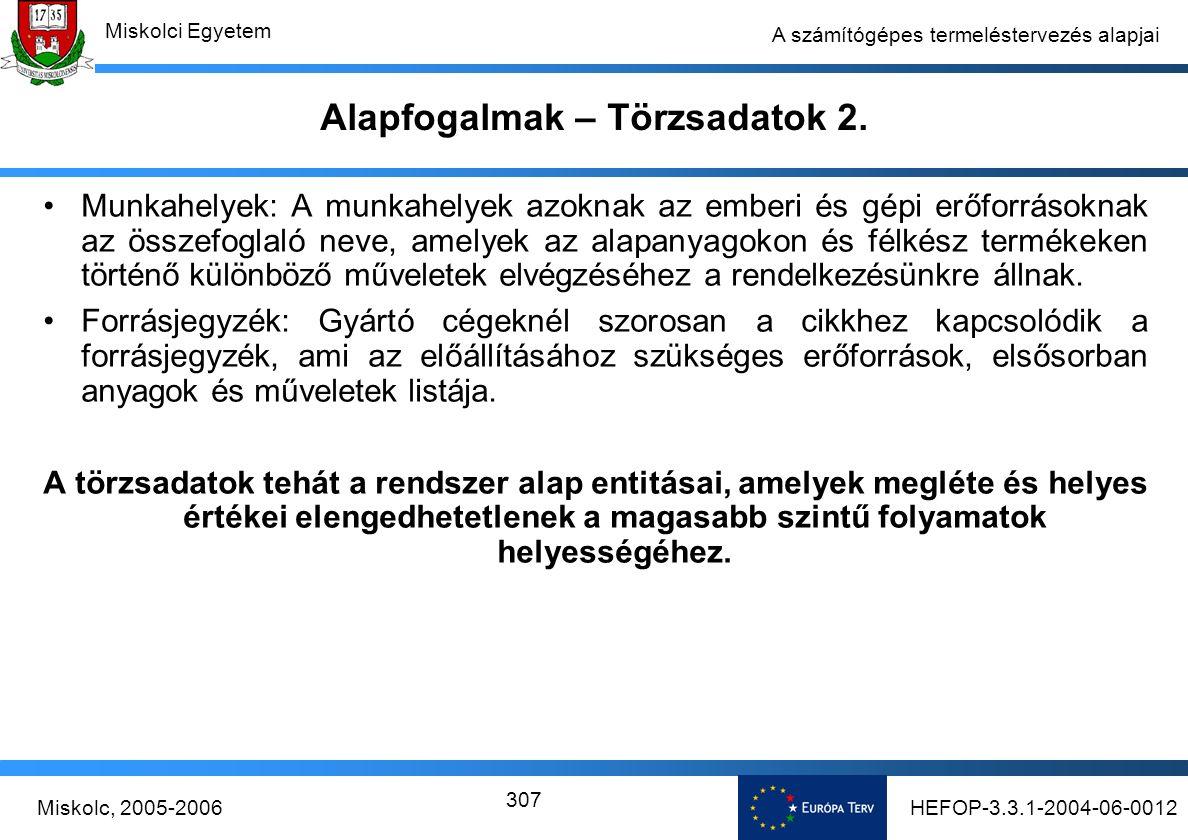 HEFOP-3.3.1-2004-06-0012Miskolc, 2005-2006 Miskolci Egyetem 307 A számítógépes termeléstervezés alapjai Alapfogalmak – Törzsadatok 2.