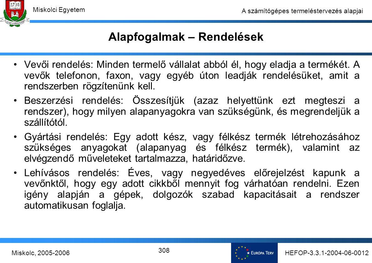 HEFOP-3.3.1-2004-06-0012Miskolc, 2005-2006 Miskolci Egyetem 308 A számítógépes termeléstervezés alapjai Alapfogalmak – Rendelések Vevői rendelés: Minden termelő vállalat abból él, hogy eladja a termékét.