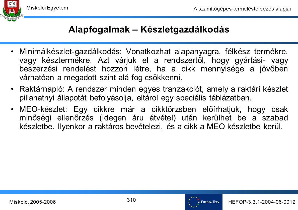 HEFOP-3.3.1-2004-06-0012Miskolc, 2005-2006 Miskolci Egyetem 310 A számítógépes termeléstervezés alapjai Alapfogalmak – Készletgazdálkodás Minimálkészlet-gazdálkodás: Vonatkozhat alapanyagra, félkész termékre, vagy késztermékre.