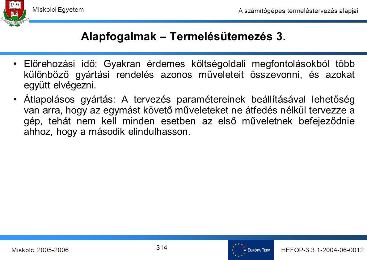 HEFOP-3.3.1-2004-06-0012Miskolc, 2005-2006 Miskolci Egyetem 314 A számítógépes termeléstervezés alapjai Alapfogalmak – Termelésütemezés 3.