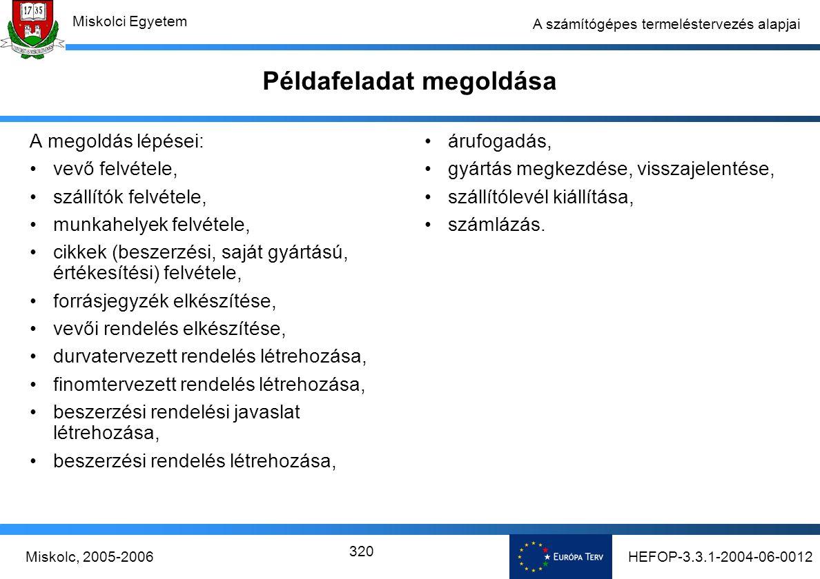 HEFOP-3.3.1-2004-06-0012Miskolc, 2005-2006 Miskolci Egyetem 320 A számítógépes termeléstervezés alapjai Példafeladat megoldása A megoldás lépései: vevő felvétele, szállítók felvétele, munkahelyek felvétele, cikkek (beszerzési, saját gyártású, értékesítési) felvétele, forrásjegyzék elkészítése, vevői rendelés elkészítése, durvatervezett rendelés létrehozása, finomtervezett rendelés létrehozása, beszerzési rendelési javaslat létrehozása, beszerzési rendelés létrehozása, árufogadás, gyártás megkezdése, visszajelentése, szállítólevél kiállítása, számlázás.