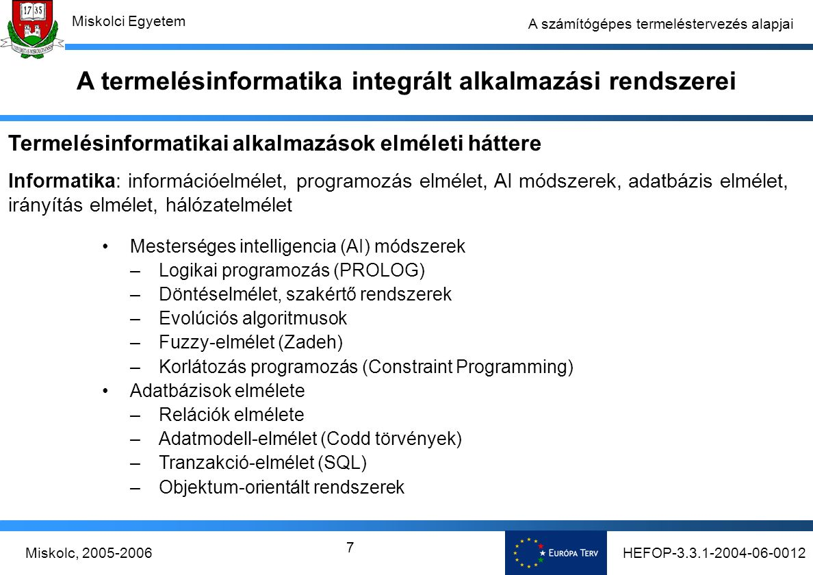 HEFOP-3.3.1-2004-06-0012Miskolc, 2005-2006 Miskolci Egyetem 7 A számítógépes termeléstervezés alapjai Mesterséges intelligencia (AI) módszerek –Logikai programozás (PROLOG) –Döntéselmélet, szakértő rendszerek –Evolúciós algoritmusok –Fuzzy-elmélet (Zadeh) –Korlátozás programozás (Constraint Programming) Adatbázisok elmélete –Relációk elmélete –Adatmodell-elmélet (Codd törvények) –Tranzakció-elmélet (SQL) –Objektum-orientált rendszerek Termelésinformatikai alkalmazások elméleti háttere Informatika: információelmélet, programozás elmélet, AI módszerek, adatbázis elmélet, irányítás elmélet, hálózatelmélet A termelésinformatika integrált alkalmazási rendszerei