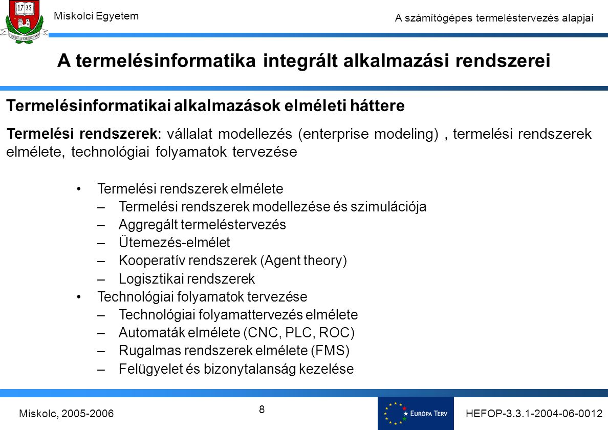 HEFOP-3.3.1-2004-06-0012Miskolc, 2005-2006 Miskolci Egyetem 8 A számítógépes termeléstervezés alapjai Termelési rendszerek elmélete –Termelési rendszerek modellezése és szimulációja –Aggregált termeléstervezés –Ütemezés-elmélet –Kooperatív rendszerek (Agent theory) –Logisztikai rendszerek Technológiai folyamatok tervezése –Technológiai folyamattervezés elmélete –Automaták elmélete (CNC, PLC, ROC) –Rugalmas rendszerek elmélete (FMS) –Felügyelet és bizonytalanság kezelése Termelésinformatikai alkalmazások elméleti háttere Termelési rendszerek: vállalat modellezés (enterprise modeling), termelési rendszerek elmélete, technológiai folyamatok tervezése A termelésinformatika integrált alkalmazási rendszerei