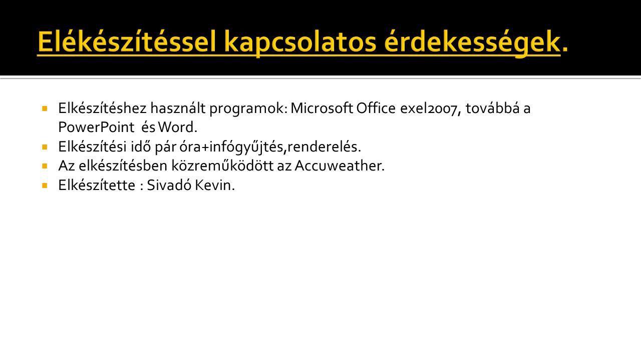  Elkészítéshez használt programok: Microsoft Office exel2007, továbbá a PowerPoint és Word.  Elkészítési idő pár óra+infógyűjtés,renderelés.  Az el