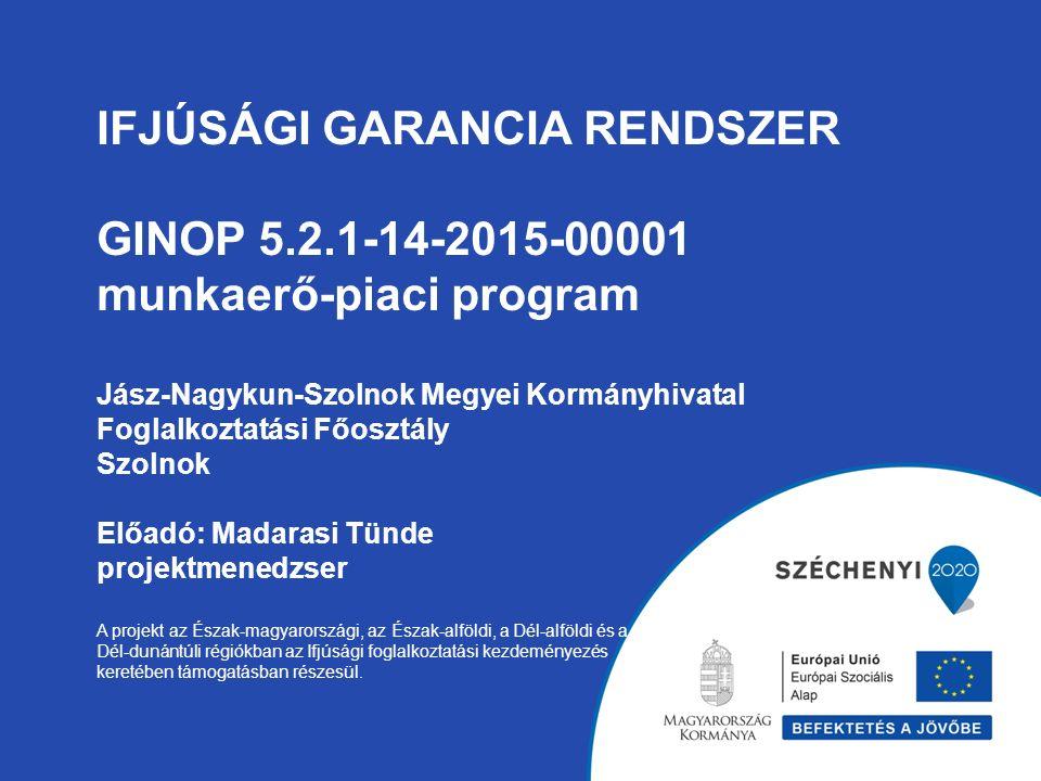 IFJÚSÁGI GARANCIA RENDSZER GINOP 5.2.1-14-2015-00001 munkaerő-piaci program Jász-Nagykun-Szolnok Megyei Kormányhivatal Foglalkoztatási Főosztály Szolnok Előadó: Madarasi Tünde projektmenedzser A projekt az Észak-magyarországi, az Észak-alföldi, a Dél-alföldi és a Dél-dunántúli régiókban az Ifjúsági foglalkoztatási kezdeményezés keretében támogatásban részesül.